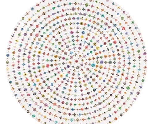 Gerhard Wichler, Cirkle I, 2016, Materialcollage, Durchmesser 80 cm