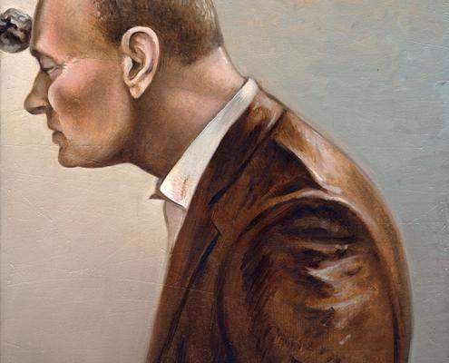 Steve Viezens, »Herr Kleindienst«, 2013, Öl und Eitempera auf Leinwand, 21 x 15 cm
