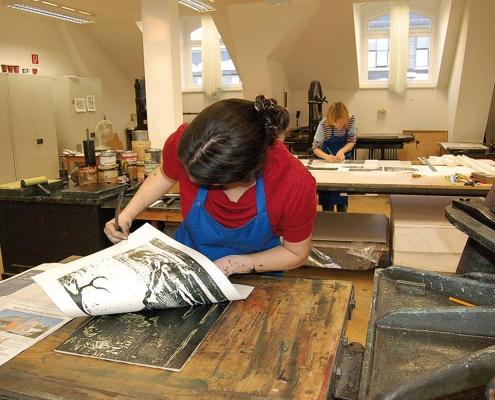 Hochdruckwerkstatt an der Hochschule für Grafik und Buchkunst, 2015